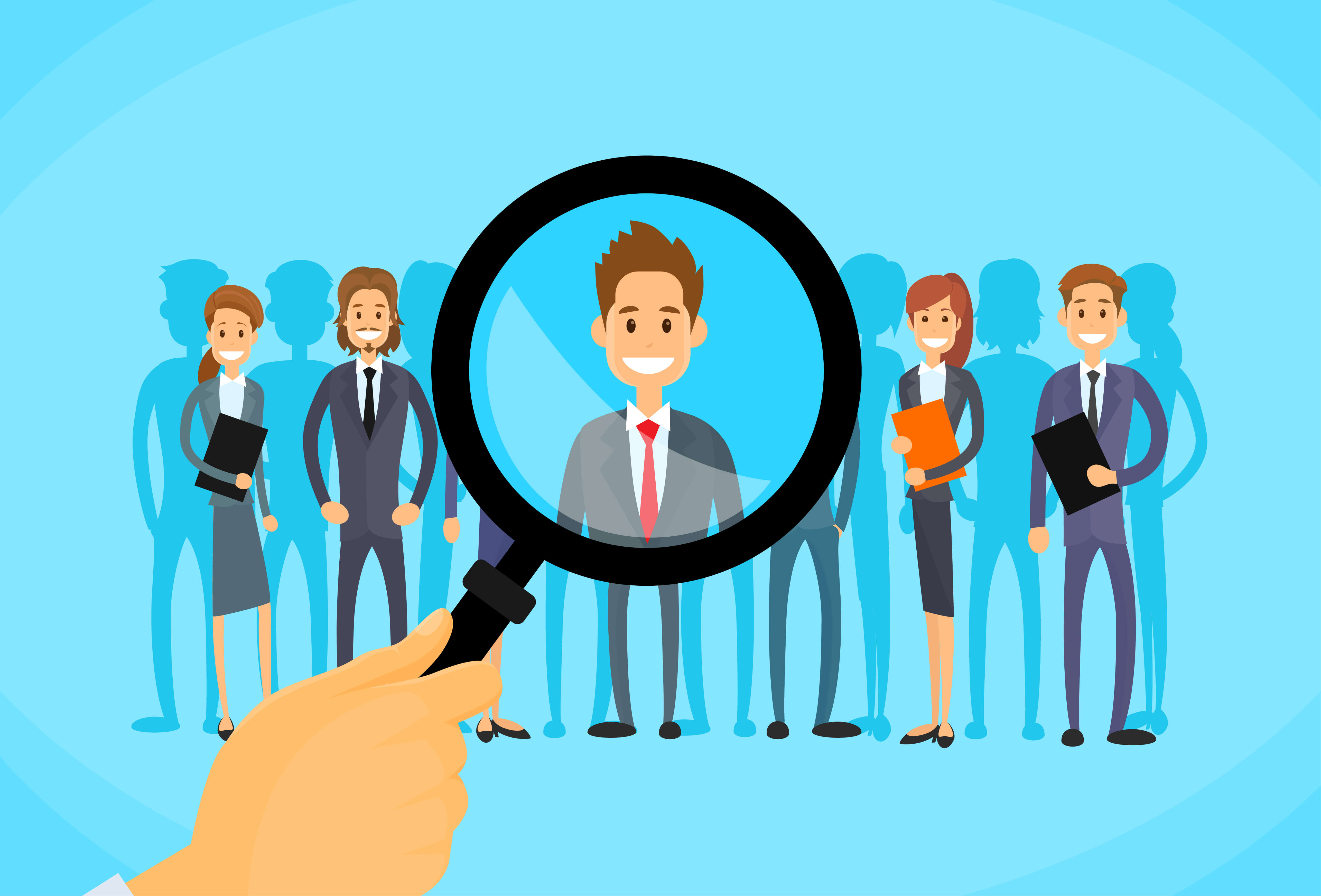 Recruitment Hand Zoom Magnifying Glass Picking Business Person